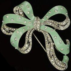 Trifari 'Joseph Wuyts' Pave and Spangled Green Enamel Bow Pin Clip