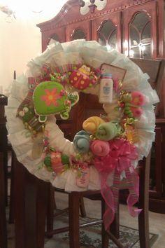 Diaper wreath--pastel spring garden theme