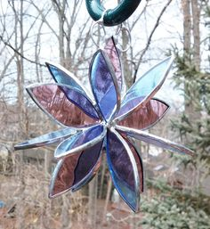 Stained glass 3D flower twirl rose pale blue glass garden art