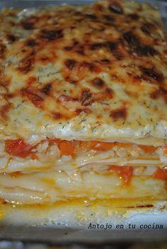 Lasaña de merluza con bechamel al eneldo - Hake lasagna with dill bechamel