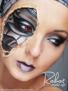 "Explore Best Halloween Face Painting Ideas"" on Disqora. Find inspiration for your Halloween and Horror face paint designs. Robot Makeup, Makeup Fx, Cosplay Makeup, Makeup Blog, Costume Makeup, Makeup Ideas, Skull Makeup, Makeup Inspiration, Makeup Tips"
