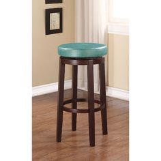 Linon Dorothy Backless Bar Stool Aqua Blue Swivel Seat