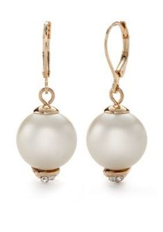 Kensie  Pearl Leverback Drop Earrings