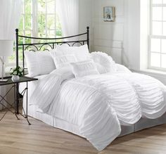Chezmoi Collection 7-piece Chic Ruched White Comforter Set, Queen Size (with Throw Pillows)