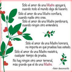 Sólo el amor de una Madre... No hay ningún otro amor terrenal, más grande que el amor de Madre...hoy una linda reflexión del hermoso amor maternal