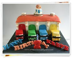 d'Angel Cakes: Tayo The Little Bus and Garage Cake Birthday Sweets, Birthday Cake Pops, Themed Birthday Cakes, Birthday Kids, Cake Recipe For Decorating, Bus Cake, Tayo The Little Bus, Wedding Cake Pops, Angel Cake