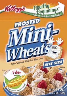 Frosted Mini-Wheats! Do you see the face on that Mini-Wheat? Hello fun!