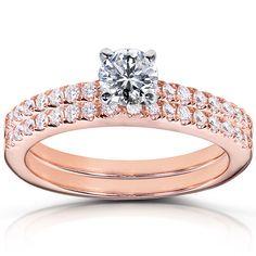 Round Brilliant Diamond Wedding Ring Set Carat (ctw) in Rose Gold, Women's, Size: Gh Big Diamond Wedding Rings, Cool Wedding Rings, Wedding Band Sets, Diamond Engagement Rings, Bridal Ring Sets, Bridal Jewelry Sets, Bridal Rings, Fashion Rings, Rose Gold