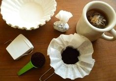 Make travel coffee bags out of coffee filters and dental floss.   41 Camping Hacks That Are Borderline Genius