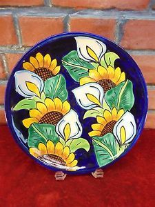 Vintage-TALAVERA-POTTERY-Hand-Painted-ART-PLATE-Puebla-MEXICO-Signed-SUNFLOWERS