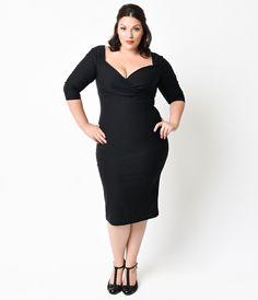 Plus Size 1950s Black Sleeved Diva Stretch Wiggle Dress $82.00 AT vintagedancer.com