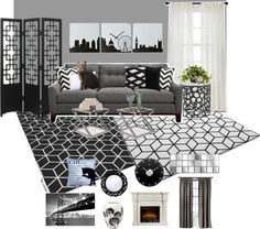 """""""Black vs. White Abstracted Living Rm"""" by evetrano on Polyvore"""