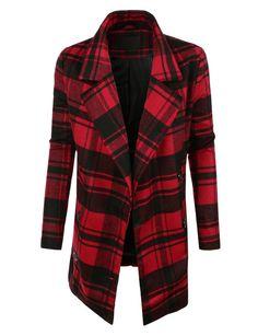 LE3NO Womens Oversized Double Breasted Plaid Pea Coat Jacket