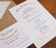 Golden Wreathe Wedding Invitation  Sample von LittleBridgeDesign