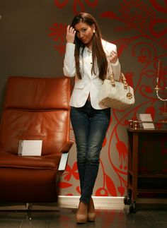 White blazer and jeans!
