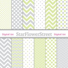 Green Gray Digital Paper soft grey lime green polka dot chevron printable scrapbook background photography baby Instant gender neutral by StarFlowerStreetDA #DigitalPaper
