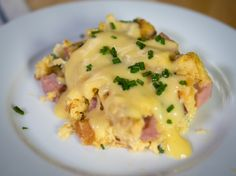 Hearty Eggs Benedict Casserole--Delicious!! I waited to add half the bread till right before casserole went in oven. Texture was great, so will do again next time!