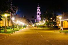 El Prado at night, in Balboa Park, San Diego, California.