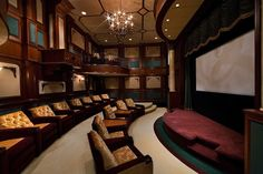 Home theater with balcony seating and stage