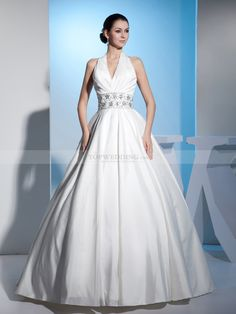 Halter Strapped V Neck Taffeta Ball Gown with Rhinestone Waist