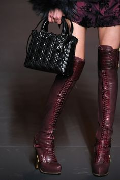 59f337d6b76 Christian Dior Fall 2011 Guetre Alligator Lace-Up Thigh High Boots
