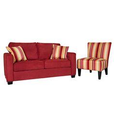 Portfolio Madi Crimson Red Sofa and Hali Striped Wine Armless Chair