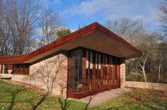"""The Acres - Samuel Eppstein Residence / 11090 Hawthorne Dr, Galesburg, MI / 1948 / Usonian / Frank Lloyd Wright -- """"No house should ever be on any hill or on anything. It should be of the hill, belonging to it, so hill and house could live together each the happier for the other."""" - Frank Lloyd Wright 1867-1959"""