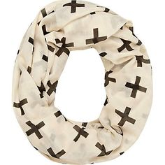 Cream cross print lightweight snood - scarves - accessories - women