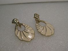 Vintage Trifari Gold Tone Enameled Clip Earrings, Stud & Hoop, Tan, 1980's