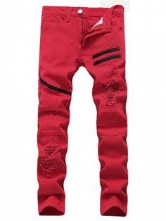 Zipper Embellishment Distressed Jeans