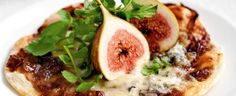 Caramelised-Onion Pizzettes with Fig and Gorgonzola