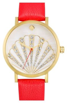 kate spade new york 'metro' crystal seashell dial leather strap watch, 34mm available at #Nordstrom