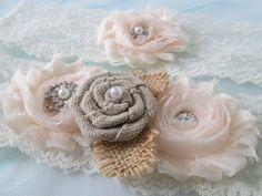 Blush Wedding Garter Set Burlap Garter Rustic by GibsonGirlGarters