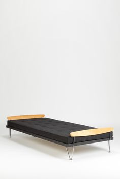 Fred Ruf; Birch, Chromed and Lacquered Metal Daybed, 1950s.