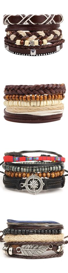 Wholesale! 4pcs 1 Set Punk Genuine Wrap Leather Bracelets For Men Women Charm Feather Anchor Bracelets Cuff Jewelry Accessories