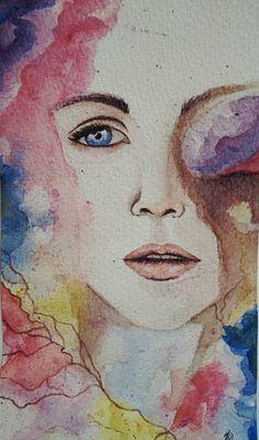 Rostro mujer - (Acuarelas)