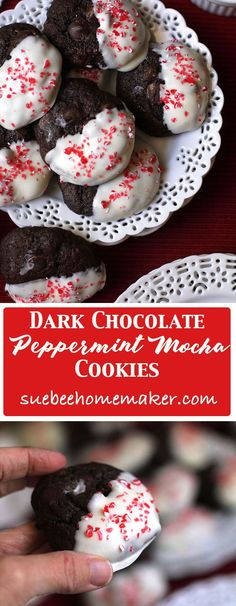 Dark Chocolate Peppermint Mocha Cookies take a simple chocolate cookie and make it festive by dipping in white chocolate topped with peppermint sprinkles!   suebeehomemaker.com