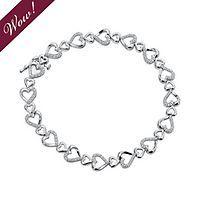 1/3 ct. tw. Diamond Heart Bracelet in Sterling Silver