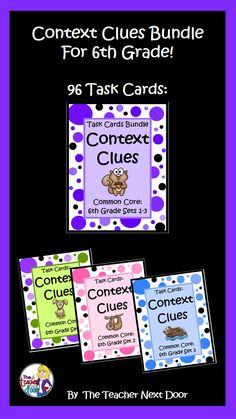 Great concentrated context clues practice for 6th graders! Three sets (96 total) Context Clues Task Cards will help expand your kid's vocabularies! $