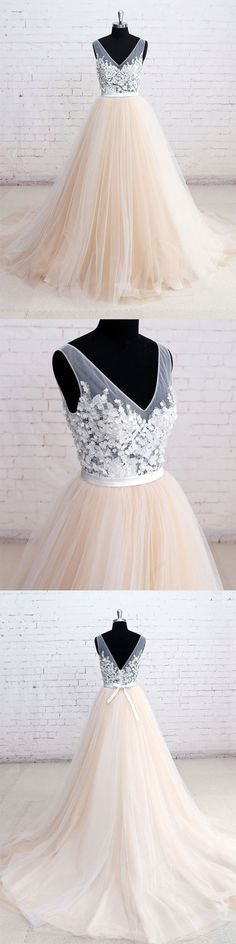 champagne v neck lace tulle long prom dress, champagne wedding dress, champagne evening dresses
