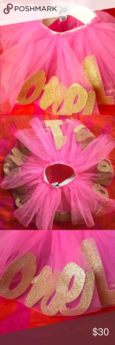 """Tutu Pink tutu with """"1"""" and """"one"""" floating inside the tutu folds. Perfect for a lil girl celebrating her first birthday. Costumes Dance"""