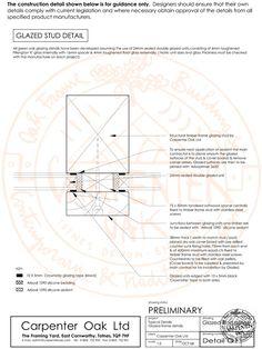 Drawing of Glazed Stud Detail by Carpenter Oak Ltd Devon