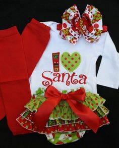 I Heart Santa onesie, bloomers, OTT bow, and leg warmers. a tad expensive.. i bet i can get it made!