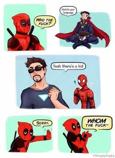 Deadpool is just deadpool - Deadpool is just deadpool -You can find Batman and more on our website.Deadpool is just dea. Avengers Humor, Funny Marvel Memes, Marvel Jokes, Dc Memes, Funny Comics, Deadpool Funny, Funny Memes, Deadpool Movie, Deadpool Quotes
