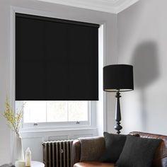 Plain roller blind fabric in a shade of dark black