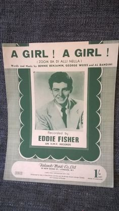 Vintage sheet Music Eddie Fisher' A Girl A by TillyofBloomsbury