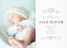 Geboortekaartje stof hartjes met foto jongen