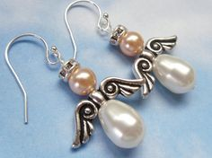Little angel earrings  Swarovski pearls silver by cuteandfun, $26.00