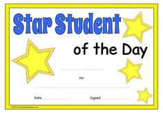 An eye-catching, printable set of star student certificates. Includes: Star Student of the Day, Week, Month, Term, Year, Class and School. Excellent for recognizing and celebrating students' exemplary efforts! Visit our TpT store for more information and for other classroom display resources by clicking on the provided links. Five Senses Preschool, 2nd Grade Reading Worksheets, English Grammar For Kids, Student Of The Week, School Forms, Birthday Charts, First Day Of School Activities, Star Students, Teachers Corner