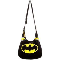 DC Comics Batman Hobo Bag | Hot Topic ❤ liked on Polyvore featuring bags, handbags, shoulder bags, batman, jewelry, striped handbag, hobo shoulder bag, striped purse, distressed handbags and hobo purse
